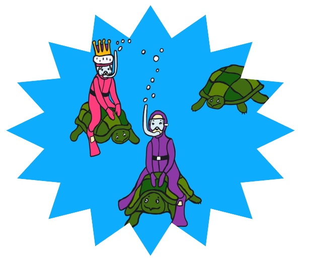 Royals Riding Turtles Under the Sea - Transparent